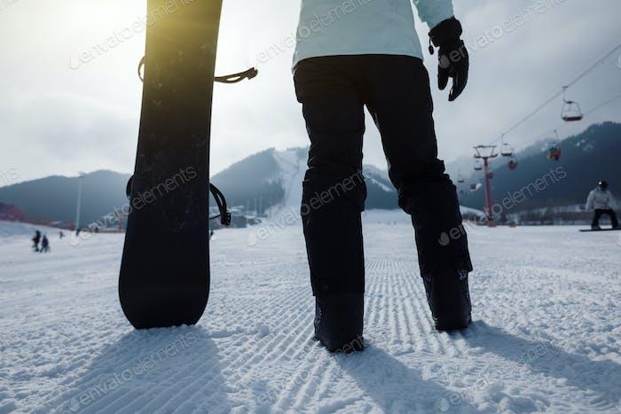 Snowboarding on winter
