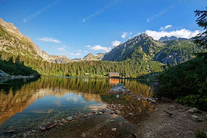 Panorama of Popradske pleso lake valley in Tatra Mountains, Slovakia, Europe