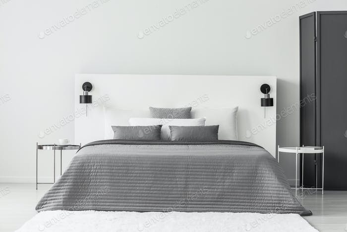 Grey and white bedroom interior