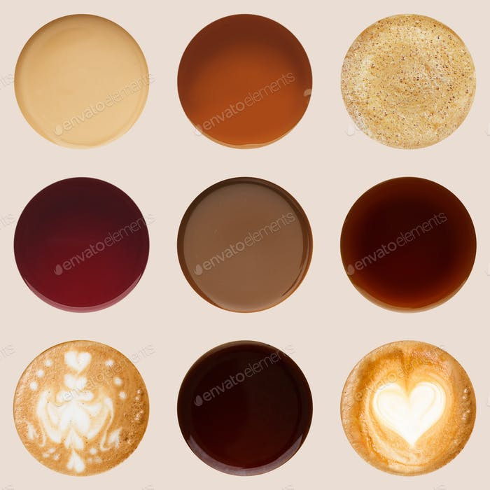 Thumbnail for Collection of coffee cups tops isolated on white