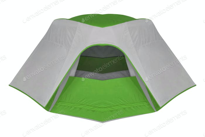 green tent isolated on white background