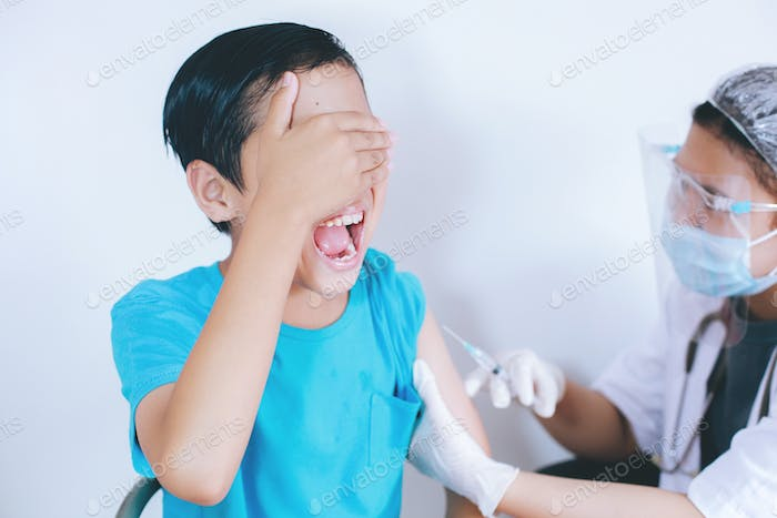 Boy Screaming when being injected