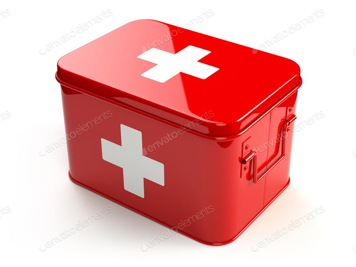 First aid kit isolated on white.