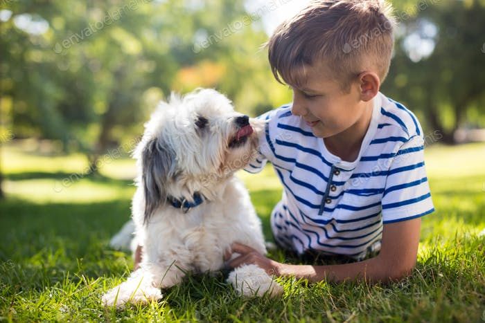 Boy with dog in park