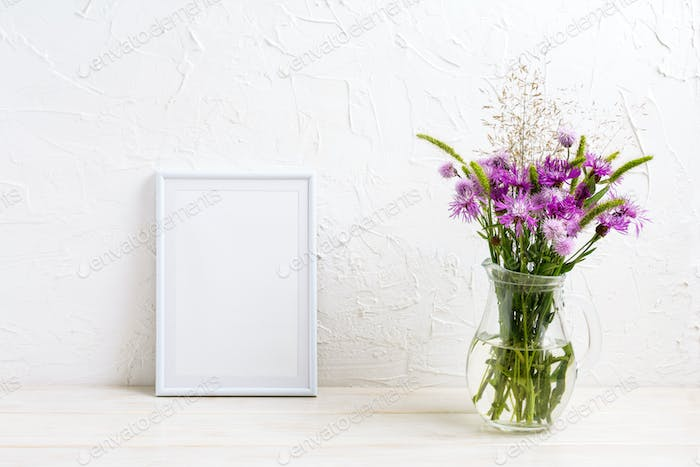 Small frame mockup with burdock flowers