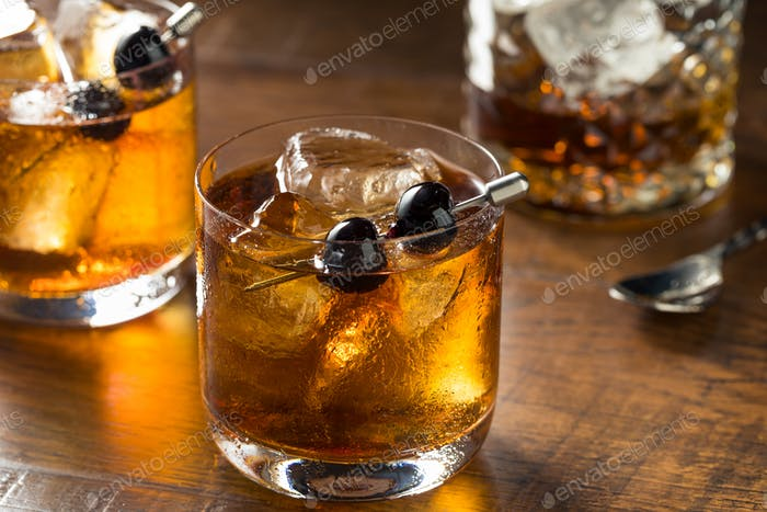 Boozy Manhattan Cocktail on the Rocks