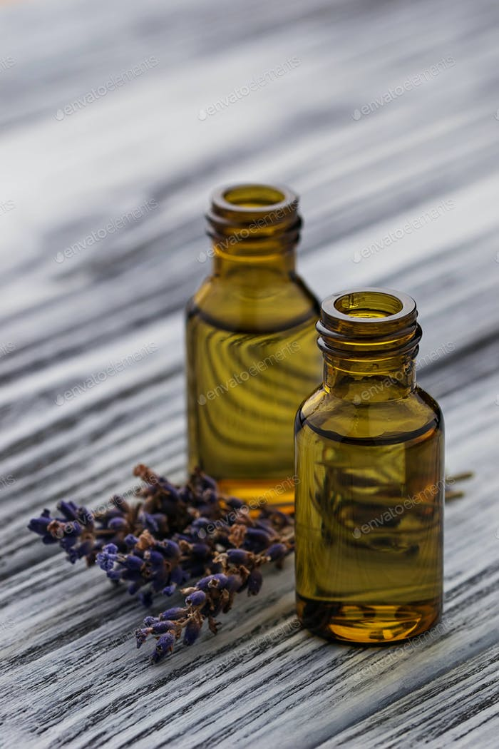 Lavender oil in glass bottle
