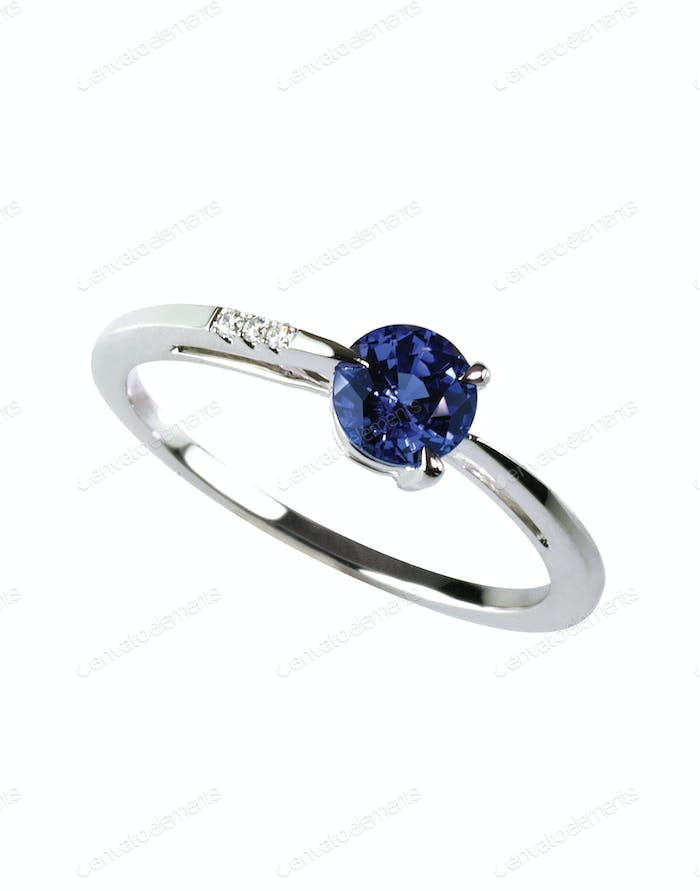 gemstone and diamond sapphire ring