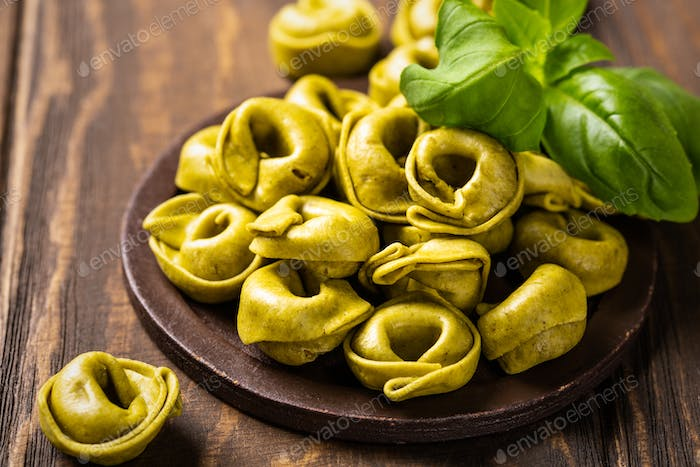 Homemade Tortellini with spinach, cheese and ricotta