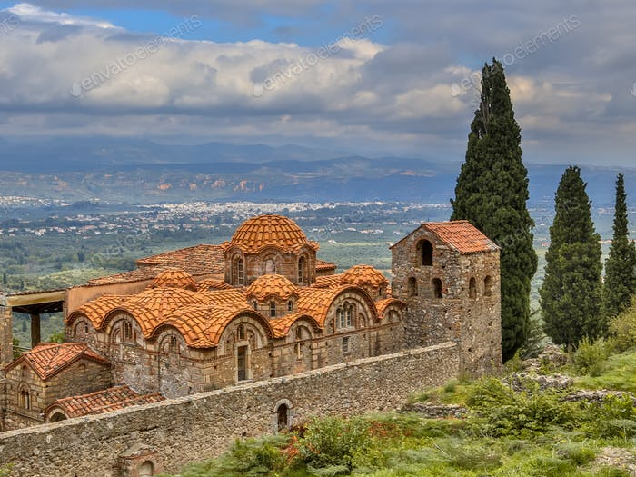 Byzantine monastery in Mystras Peloponnese Greece