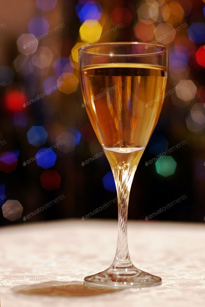 High wine glass for New Year post card