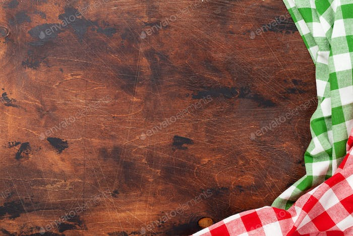 Cooking table with kitchen towel or napkin