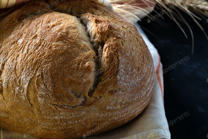 Round freshly baked rustic rye round bread with wheat ears and napkin close-up
