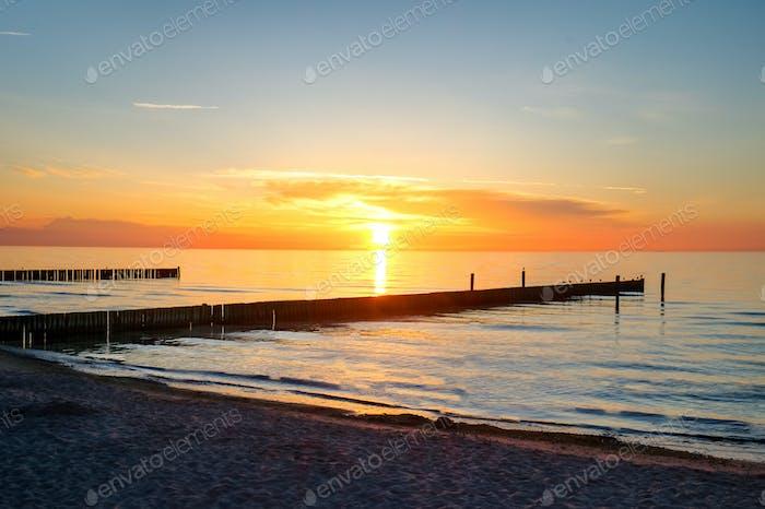 Puesta de sol en el Mar en Alemania