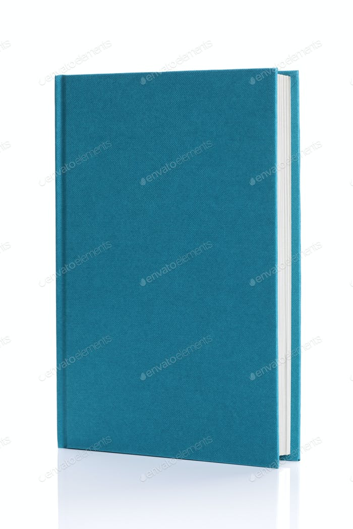 Isolated blank blue hardback book