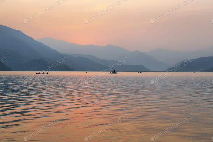 Fewa lake at sunset in Pokhara