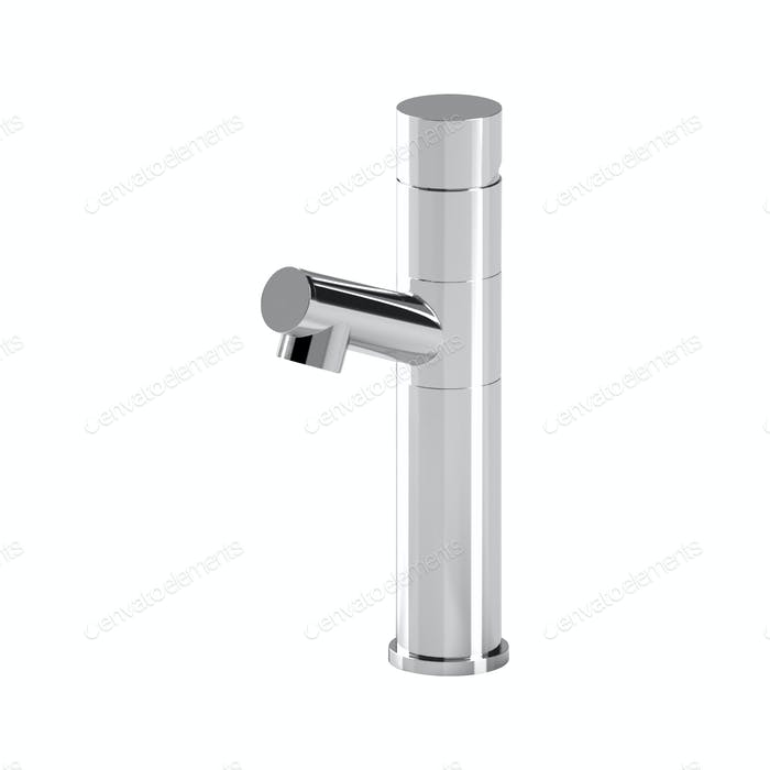Metal faucet isolated on white