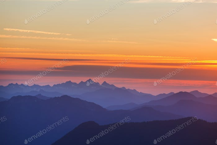 Mountains on sunset