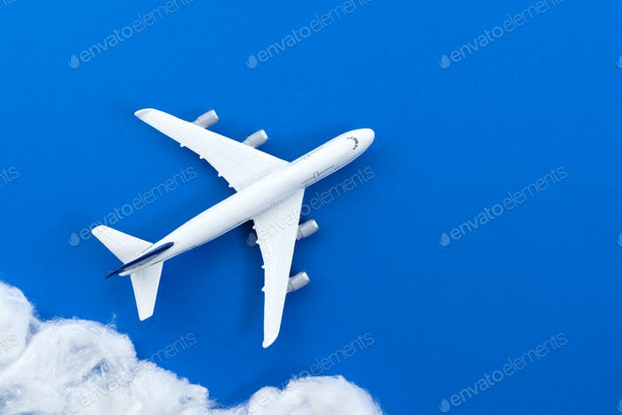 Commercial airplane model with cloud