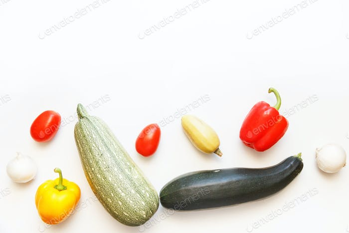 Fresh vegetables on white isolated background