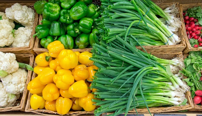 Scallions and pepper