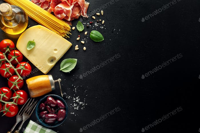 Italian food background with food