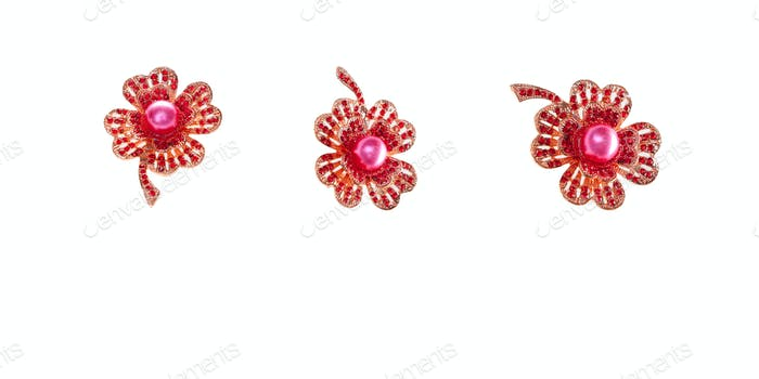 Vintage red ruby brooch on white background