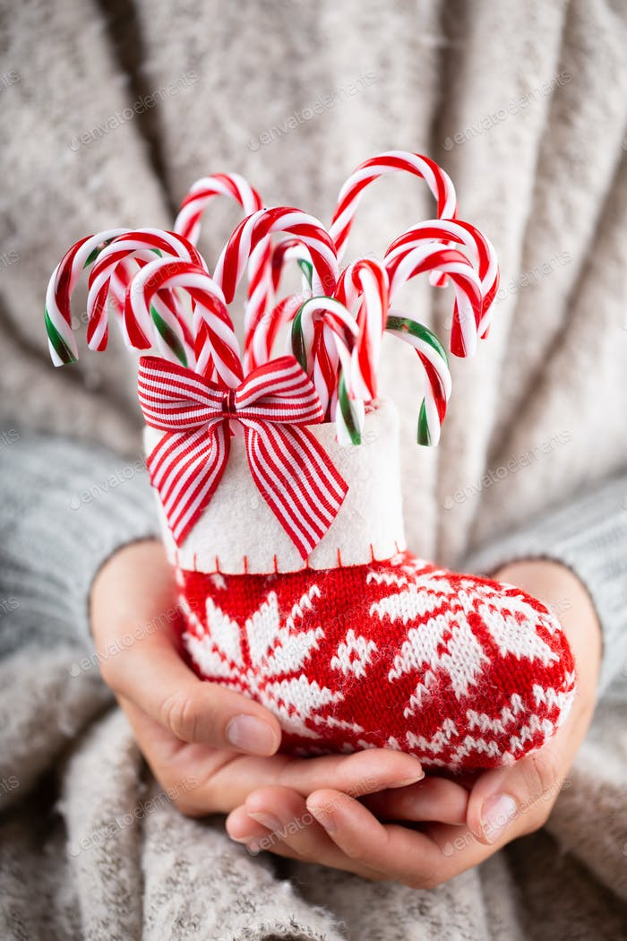Winter Concept Young Hands Holding christmas candy canes, stick decor.