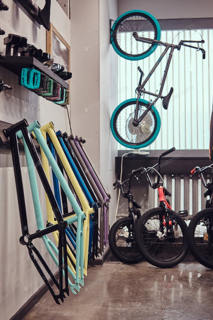 Vertical photo of a specialized store of spare parts for BMX bikes.