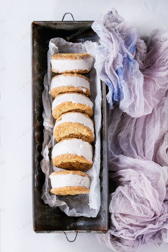 Ice cream sandwiches in cookies