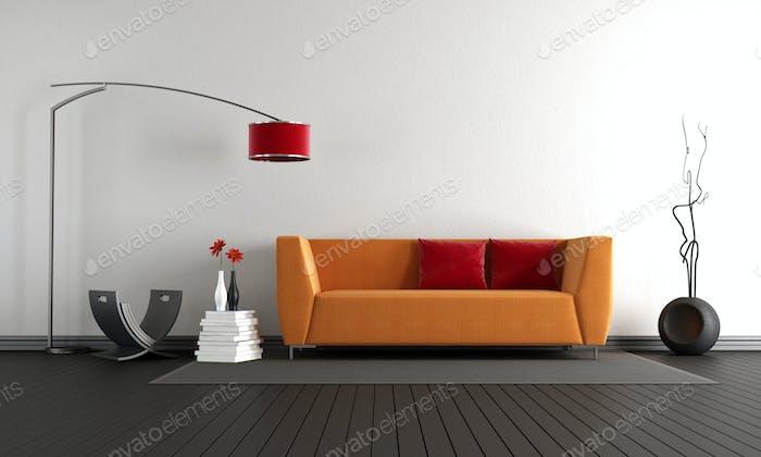 Minimalist living room with orange sofa