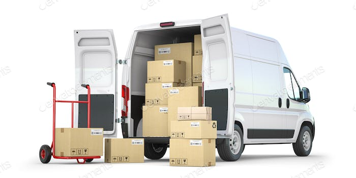 Delivery van with open doors and hand truck with cardboard boxes isolated on white background