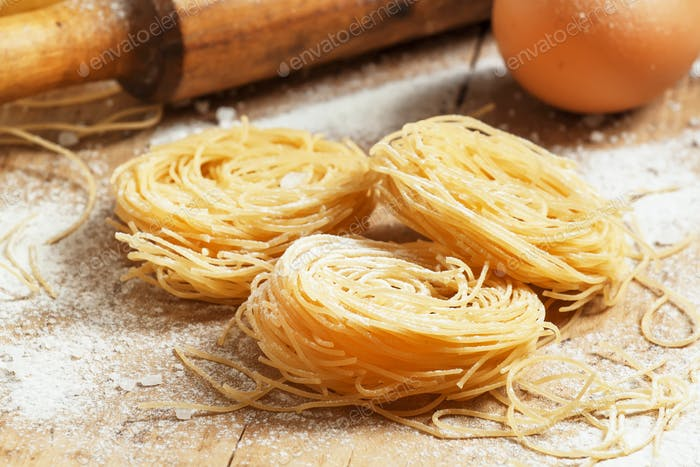 Dried pasta with flour and eggs
