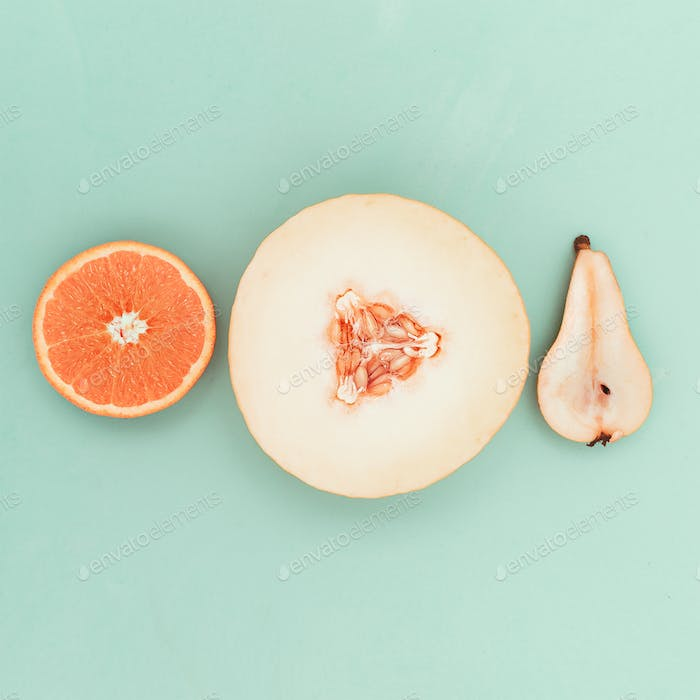 Pear orange melon. Fresh tropical ideas. Minimal Creative art