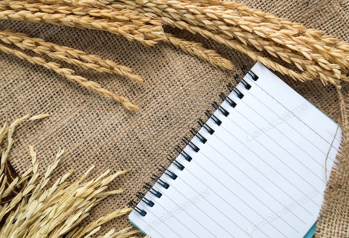 Notebook with rice drying on sackcloth background.