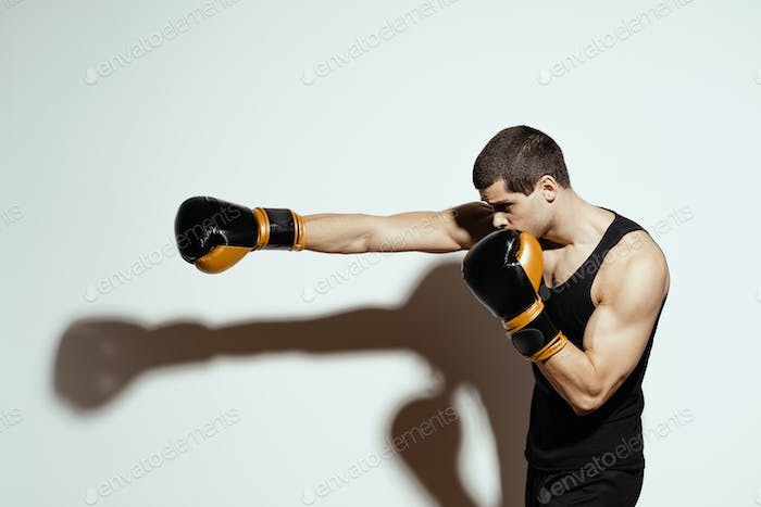 Sportsman boxer fighting. Sport concept.