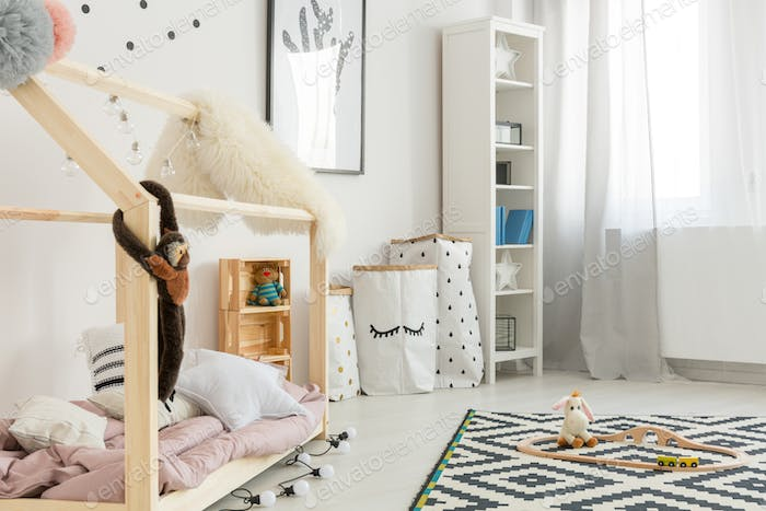 Modern child room with bookcase