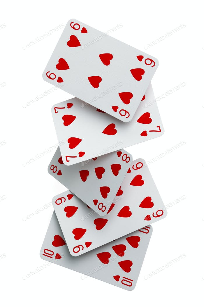 Straight flush cards falling