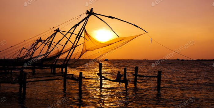 Fishing Nets of Cochin at Sunset