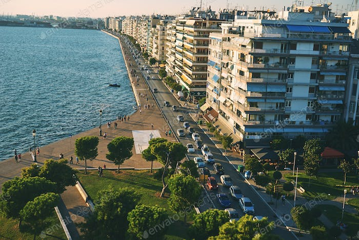 THESSALONIKI, GREECE - SEPTEMBER 29, 2016: View from the white t