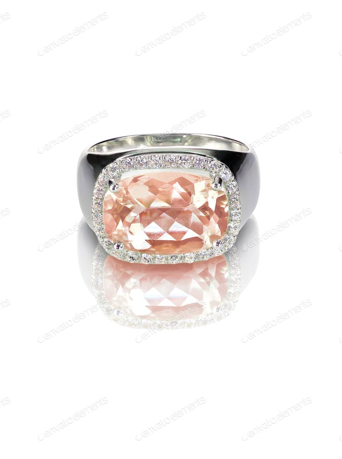 Morganite diamond halo engagement ring