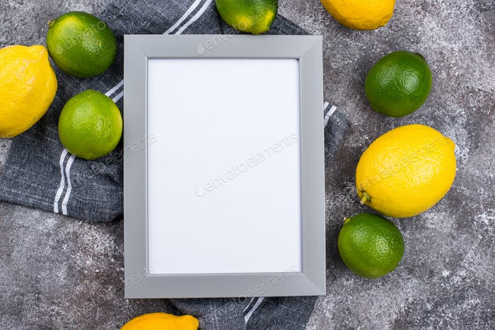 Fresh ripe limes and lemons