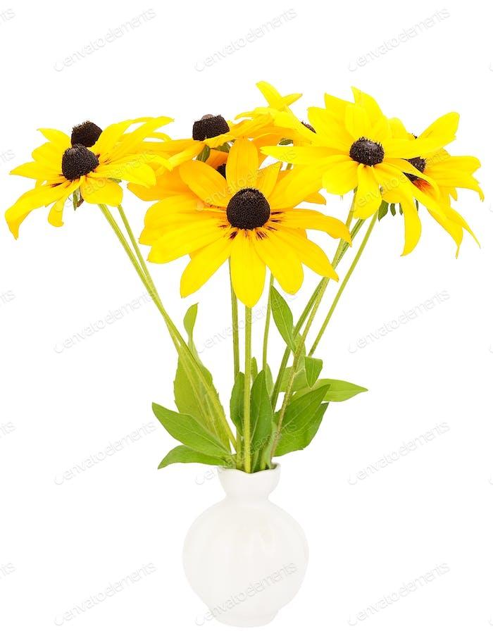 Gelbe Rudbeckia Blumen in Keramikvase