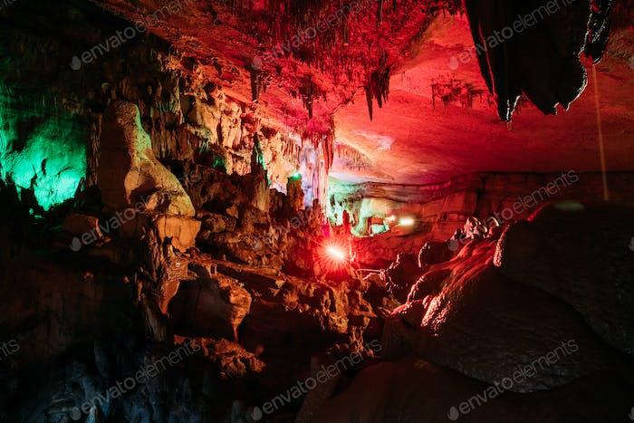 Kutaisi, Georgia. View Of Sataplia Karst Cave In State Sataplia