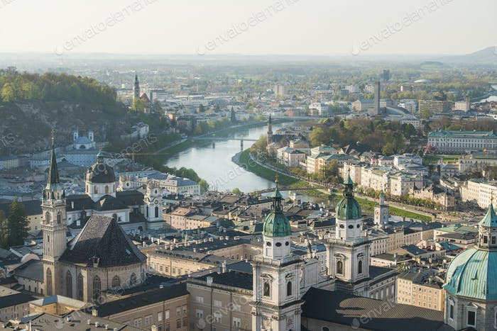 Scenic view over old town center of Salzburg, Austria