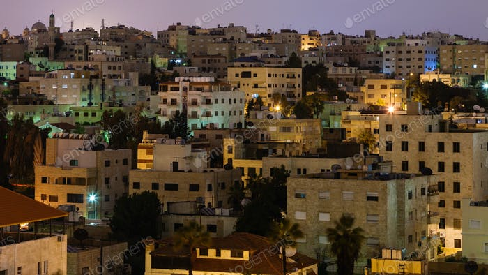 urban houses in Amman city in night
