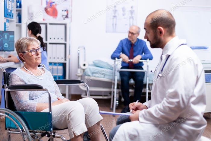 Doctor consultation in recovery clinic
