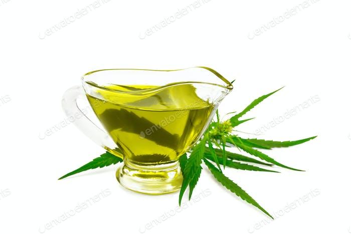 Oil hemp in glass sauceboat
