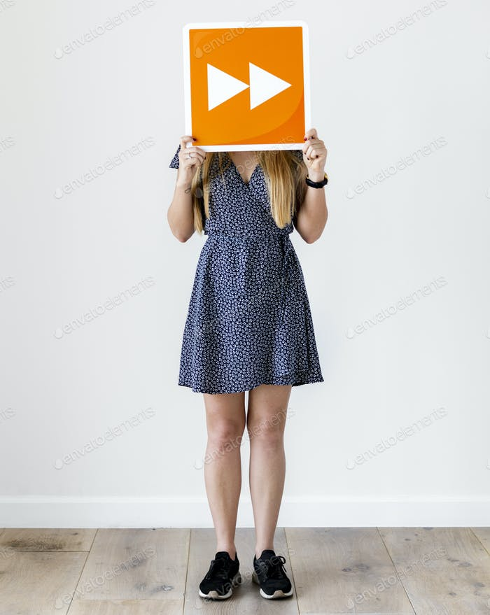 Girl holding orange forward icon