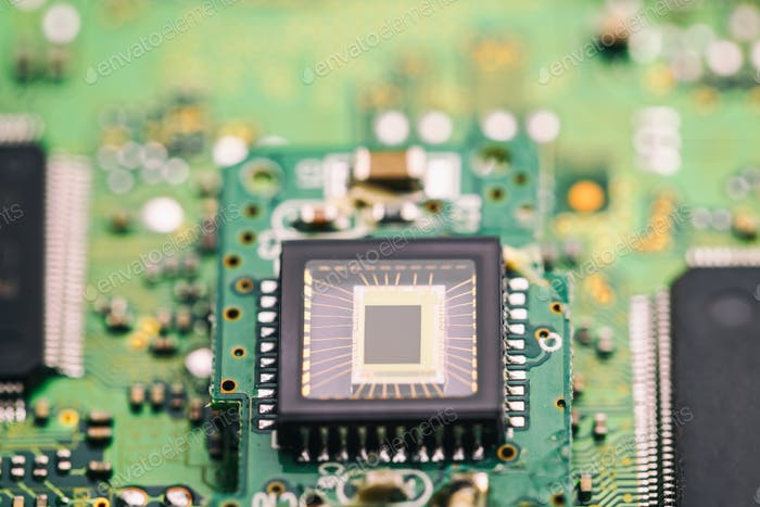 Microchip on green board